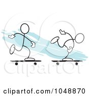Royalty Free RF Clip Art Illustration Of Two Sticklers Skateboarding Over Blue by Johnny Sajem