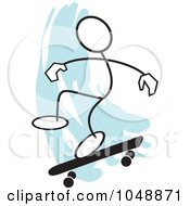 Royalty Free RF Clip Art Illustration Of A Stickler Skateboarding And Jumping Over Blue 1 by Johnny Sajem