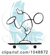 Royalty Free RF Clip Art Illustration Of A Stickler Skater Over Blue by Johnny Sajem