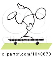 Royalty Free RF Clip Art Illustration Of A Stickler Skater Over Green by Johnny Sajem