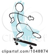 Royalty Free RF Clip Art Illustration Of A Stickler Skateboarding And Jumping Over Blue 2 by Johnny Sajem