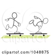 Royalty Free RF Clip Art Illustration Of Two Sticklers Skateboarding Over Green by Johnny Sajem