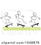 Royalty Free RF Clip Art Illustration Of Three Sticklers Skateboarding Over Green by Johnny Sajem