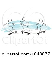 Royalty Free RF Clip Art Illustration Of Three Sticklers Skateboarding Over Blue by Johnny Sajem