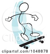 Royalty Free RF Clip Art Illustration Of A Stickler Skateboarding And Jumping Over Blue 3 by Johnny Sajem
