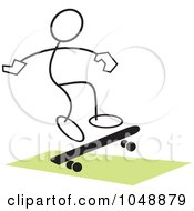 Royalty Free RF Clip Art Illustration Of A Stickler Skateboarding And Jumping Over Green 3 by Johnny Sajem