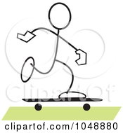 Royalty Free RF Clip Art Illustration Of A Stickler Skateboarding Over Green by Johnny Sajem