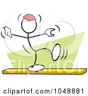 Royalty Free RF Clip Art Illustration Of A Stickler Balancing A Bean Bag On His Head On A Beam Over Green by Johnny Sajem