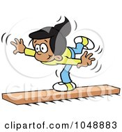 Royalty Free RF Clip Art Illustration Of A Hispanic Girl On A Balance Beam by Johnny Sajem