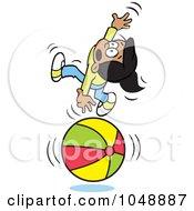 Royalty Free RF Clip Art Illustration Of A Hispanic Girl Losing Her Balance On A Ball