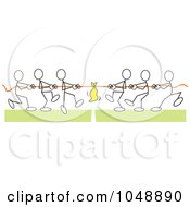 Royalty Free RF Clip Art Illustration Of Sticklers Pulling In Tug Of War Over Green by Johnny Sajem