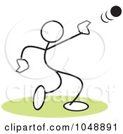 Royalty Free RF Clip Art Illustration Of A Stickler Throwing A Shot Put Over Green by Johnny Sajem