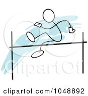Royalty Free RF Clip Art Illustration Of A Stickler Doing A High Jump Over Blue