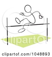 Royalty Free RF Clip Art Illustration Of A Stickler Doing A High Jump Over Green by Johnny Sajem