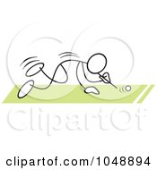 Royalty Free RF Clip Art Illustration Of A Stickler Doing A Ping Pong Ball Blow Race Over Green