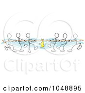 Royalty Free RF Clip Art Illustration Of Sticklers Pulling In Tug Of War Over Blue