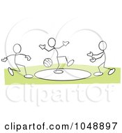 Royalty Free RF Clip Art Illustration Of Sticklers Playing Dodgeball Over Green by Johnny Sajem