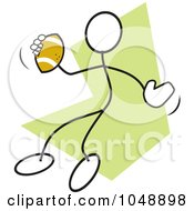 Royalty Free RF Clip Art Illustration Of A Stickler Passing A Football Over Green by Johnny Sajem