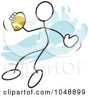 Stickler Passing A Football Over Blue by Johnny Sajem