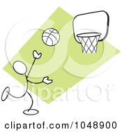 Royalty Free RF Clip Art Illustration Of A Stickler Shooting Hoops Over Green