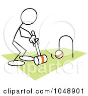 Royalty Free RF Clip Art Illustration Of A Stickler Playing Croquet Over Green by Johnny Sajem