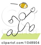 Royalty Free RF Clip Art Illustration Of A Stickler Catching A Football Over Green