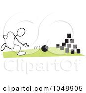 Royalty Free RF Clip Art Illustration Of A Stickler Bowling On Field Day Over Green by Johnny Sajem