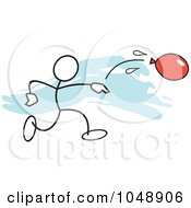 Royalty Free RF Clip Art Illustration Of A Stickler Throwing A Water Balloon Over Blue by Johnny Sajem