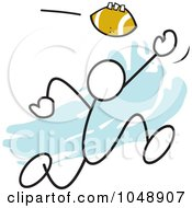 Royalty Free RF Clip Art Illustration Of A Stickler Catching A Football Over Blue