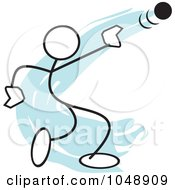 Royalty Free RF Clip Art Illustration Of A Stickler Throwing A Shot Put Over Blue by Johnny Sajem
