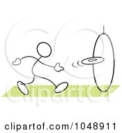 Royalty Free RF Clip Art Illustration Of A Stickler Tossing A Frisbee Through A Hoop by Johnny Sajem