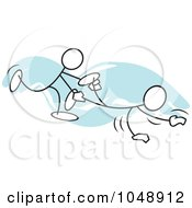 Royalty Free RF Clip Art Illustration Of Sticklers In A Wheel Barrow Race Over Blue