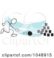Royalty Free RF Clip Art Illustration Of A Stickler Bowling On Field Day Over Blue by Johnny Sajem