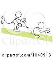 Royalty Free RF Clip Art Illustration Of Sticklers In A Wheel Barrow Race Over Green by Johnny Sajem