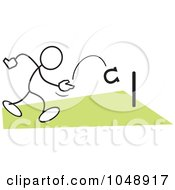 Royalty Free RF Clip Art Illustration Of A Stickler Playing Horse Shoes Over Green by Johnny Sajem