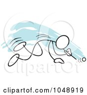 Royalty Free RF Clip Art Illustration Of A Stickler Doing A Ping Pong Ball Blow Race Over Blue