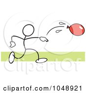 Royalty Free RF Clip Art Illustration Of A Stickler Throwing A Water Balloon Over Green