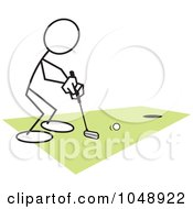 Royalty Free RF Clip Art Illustration Of A Stickler Golfing