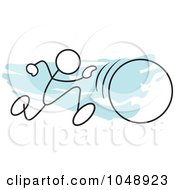 Royalty Free RF Clip Art Illustration Of A Stickler Running In A Hula Hoop Race Over Blue by Johnny Sajem