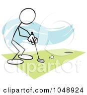 Royalty Free RF Clip Art Illustration Of A Stickler Golfing Over Blue by Johnny Sajem