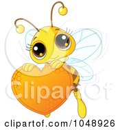 Royalty Free RF Clip Art Illustration Of A Cute Bee Holding A Honey Valentine Heart by Pushkin