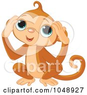 Royalty Free RF Clip Art Illustration Of A Cute Hear No Evil Monkey