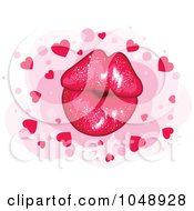 Sparkly Pair Of Puckered Lips Over Pink Dots With Hearts