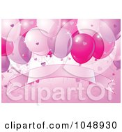 Valentine Or Birthday Background With Party Balloons Hearts And A Blank Banner On Pink
