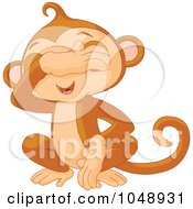 Royalty Free RF Clip Art Illustration Of A Cute See No Evil Monkey by Pushkin