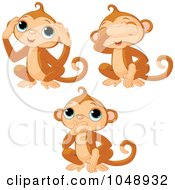 Royalty Free RF Clip Art Illustration Of A Digital Collage Of Cute No Evil Monkeys by Pushkin