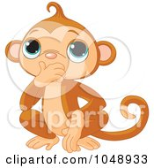 Royalty Free RF Clip Art Illustration Of A Cute Speak No Evil Monkey by Pushkin