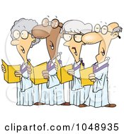 Royalty Free RF Clip Art Illustration Of A Cartoon Choir Of Seniors