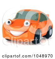 Royalty Free RF Clip Art Illustration Of An Orange 3d Porsche Character by Julos