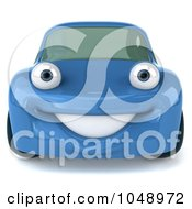 Royalty Free RF Clip Art Illustration Of A Blue 3d Porsche Character by Julos